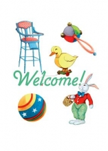 High Chair and Baby Toys New Child Greeting Cards [With Envelope]