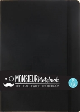Hide Stationery Ltd Monsieur Notebook Black Leather Plain Large