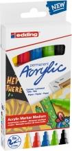 , Acrylmarker edding e-5100 medium set van 5 kleuren pastel