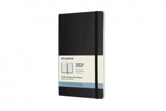 , Moleskine 12 MND Agenda - 2021 - Maandelijks - Large (13x21 cm) - Zwart - Zachte Kaft