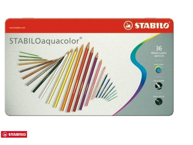 ,Kleurpotloden STABILO aquacolor 1636 blik à 36 kleuren