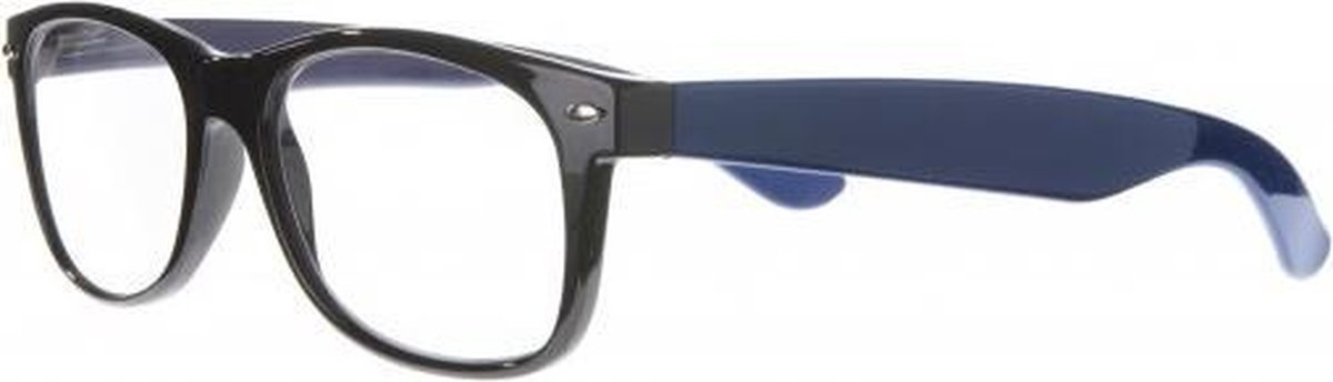 Nce013,Leesbril icon black front, navy blue temple, silver detail 3.0