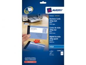 , visitekaartjes Avery 85x54mm 260gr wit 25 vel 8 kaarten per vel