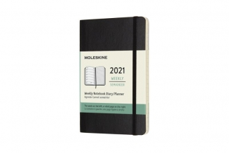 , Moleskine 12 MND Agenda - 2021 - Wekelijks - Pocket (9x14 cm) - Zwart - Zachte Kaft