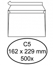 , Envelop Hermes bank C5 162x229mm zelfklevend wit 500stuks