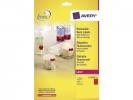 ,laseretiket Avery rond 63,5mm fluorrood 25 vel 12 etiketten per vel