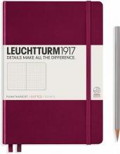 Lt359695 , Leuchtturm notitieboek medium 145x210 dots/puntjes port red wijnrood