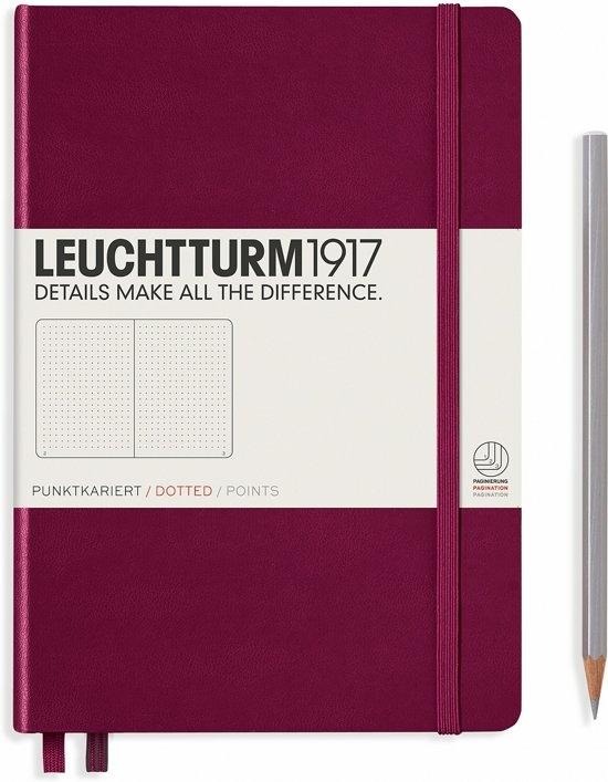Lt359695,Leuchtturm notitieboek medium 145x210 dots/puntjes port red wijnrood