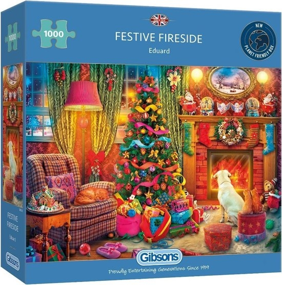 Gib-g6330,Puzzel gibsons kerst festive fireside 1000 stukjes