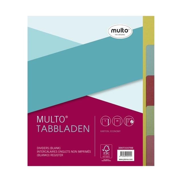 ,Tabbladen Multo A5 17-gaats 5-delig ass karton 180gr