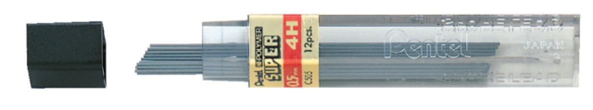 , Potloodstift Pentel 0.5mm zwart per koker 4H