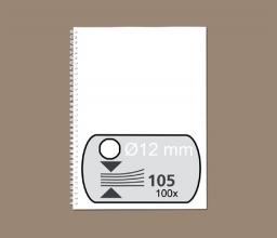 , Draadrug Fellowes 12mm 34-rings A4 wit 100stuks