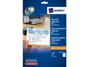 , systeemkaart Avery 105x70mm 185gr wit 25 vel 8 kaarten per  vel