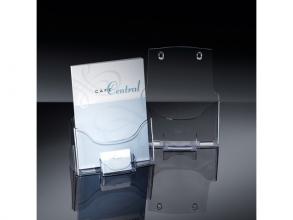 , folderhouder Sigel tafelmodel A4 transparant acryl met      visitekaarthouder