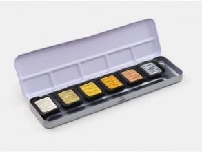 , Verftablet 30x22mm Premium Antique tones, 6 stuks in blik,  Finetec