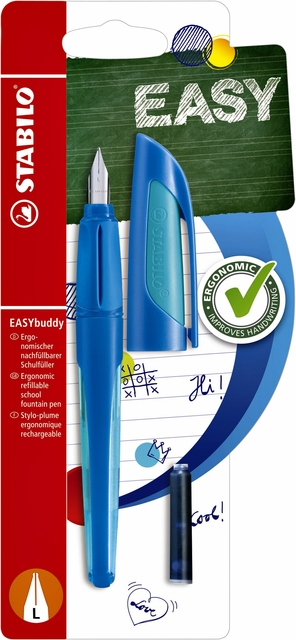 ,Vulpen STABILO Easybuddy linkshandig donkerblauw/lichtblauw blister
