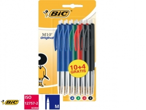 Balpen Bic M10 assorti medium blister à 10+4 gratis