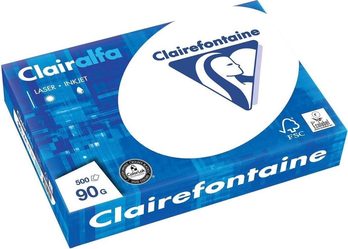 ,Kopieerpapier Clairefontaine Clairalfa A4 90gr wit 500vel