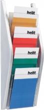 , Folderhouder Helit wand 4xA5 zilver