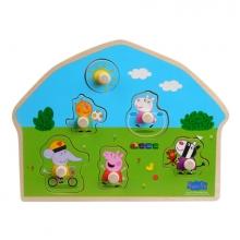 , Peppa Pig Houten puzzel met knoppen - Speeltuin