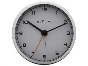 , wekker NeXtime 9 x 9 x 7.5 cm, metaal, wit, `Company Alarm`