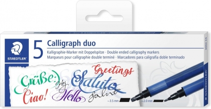 , Kalligrafiepen Staedtler duo punt 2.0 en 3.5mm ass