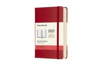 , Moleskine 12 MND Agenda - 2021 - Dagelijks - Pocket (9x14 cm) - Scarlet Rood - Harde Kaft