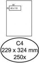 , Envelop Hermes akte C4 229x324mm venster 4x11links zelfkl 250stuk