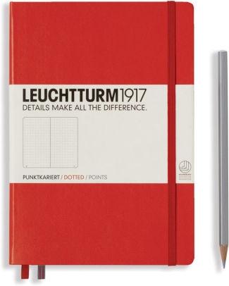 Lt313627,Leuchtturm notitieboek medium 145x210 dots / bullets rood