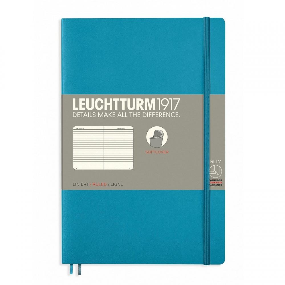 Lt358314,Leuchtturm notitieboek softcover 19x12.5 cm lijn nordic blue