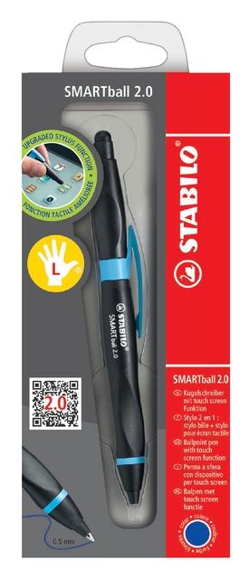 ,Balpen STABILO Smartball linkshandig zwart/cyaan blauw blister