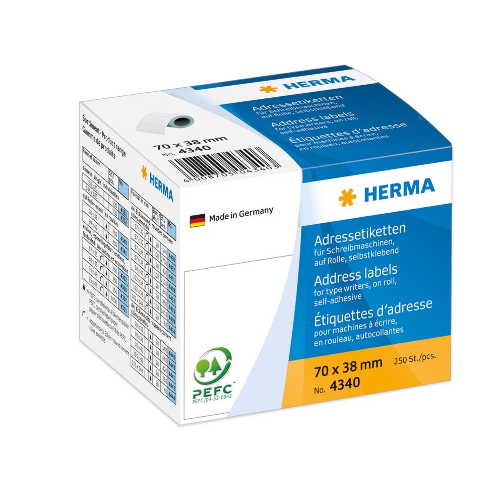 ,Etiket Herma adres 4340 70x38mm 250stuks op rol wit
