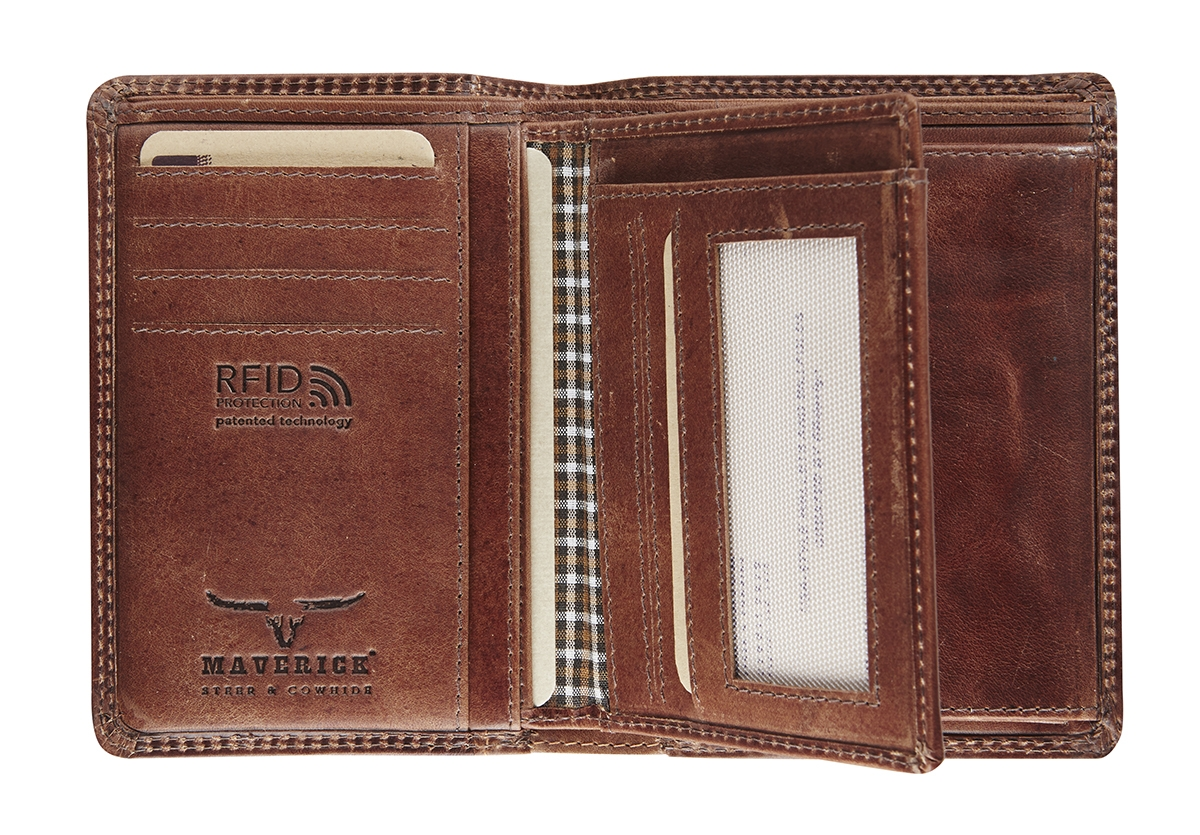 ,Portemonnee Maverick Dalian RFID leer bruin