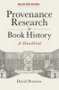 David Pearson, Provenance Research in Book History