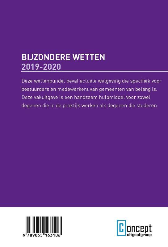 ,Bijzondere Wetten 2019-2020