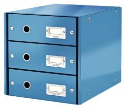 , Ladenbox Leitz WOW Click & Store 3 laden blauw
