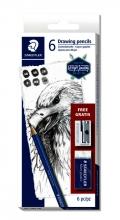 , Potlodenset Staedtler Design Journey Lumograph met gratis gum en puntenslijper