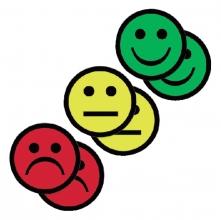 , Magneet smiley 50mm 2x geel 2x groen 2x rood