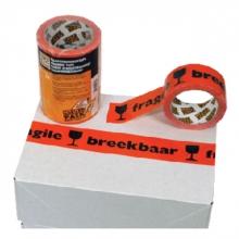 , Verpakkingstape CleverPack breekbaar 50mmx66m PP oranje/zwart