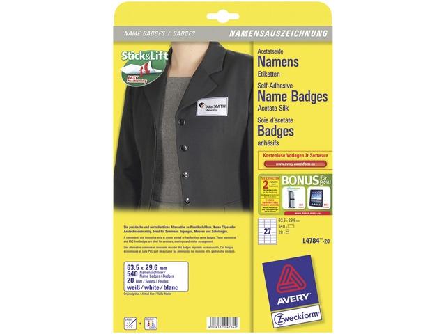 ,badge etiket Avery 63,5x29,6mm 20 vel 10 etiketen per vel   wit