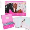 10468 a , Miss melody briefpapier in vakjes, pink 3 paarden
