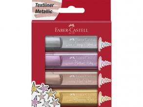 , Markeerstift Faber Castell metallic blister à 4 stuks assorti