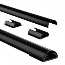 , Kabelkanaal Hama halfrond 110/3,3/1,8 cm aluminium zwart