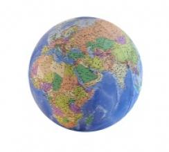 , Opblaasbare globe evenwichtsbal 3D cartogr. dia.75 cm