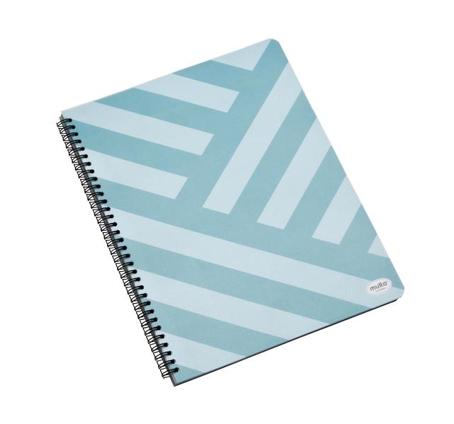 ,Projectboek Multo A4 lijn met kleurverdeling blauw