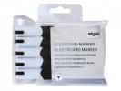 ,glasboardmarker Sigel 2-3mm ronde punt 5 stuks in etui zwart