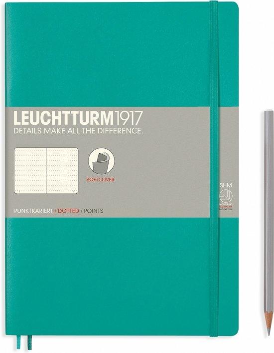 Lt355295,Leuchtturm notitieboek composition 178x254 mm dots/puntjes emerald green