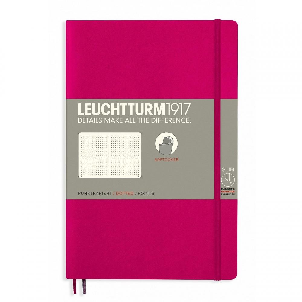 Lt358294,Leuchtturm notitieboek softcover 19x12.5 cm bullets/dots/puntjes berry/kersenroo