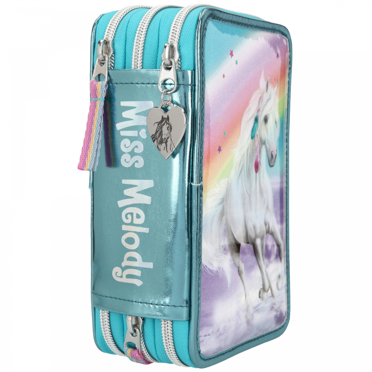 ,Miss melody 3-vaks etui rainbow