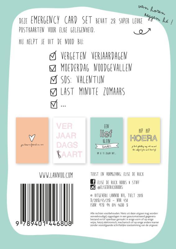 Elise  De Rijck,Emergency cards